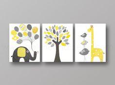 Yellow and gray Nursery art baby nursery decor nursery print Kids art elephant giraffe bird Tree Set of three prints on Etsy, $42.00