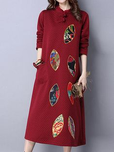 Vintage Embroidery Button Long Sleeve Loose Women Dress