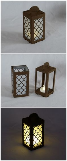 "#lasercut paper lantern for LED tea light. ""Moroccan"" design in brown 160gsm paper."