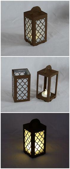 "#lasercut paper lantern for LED tea light. ""Moroccan"" design in brown 160gsm paper."