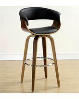 Aviva Modern Bentwood Design Black Upholstered Bar Stool (Walnut/Black)