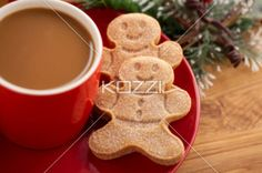 coffee and gingerbread man - Coffee and gingerbread man on a red saucer