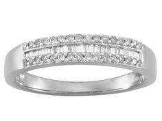 Diamond .25ctw Round And Baguette Rhodium Over Sterling Silver Ring