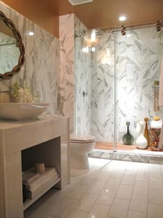 Bathroom, Gold Mirror, Marble Accents, Gold Ceiling, Showcase House, Park  Collective