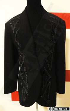 80s black wool jacket, colours black with geometric embroidery of beads and jewel-buttons di RCClo su Etsy