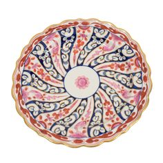 """c. 1790  A Dozen Worcester Porcelain Queen Charlotte Pattern Dessert Dishes, England  This 18th century Worcester pattern, """"Catherine's Wheel"""", came to be known as the """"Queen Charlotte"""" pattern after Queen Charlotte, the wife of George III, purchased a set from Worcester in 1788.  Iron red, pink and cobalt blue swirl from the center forming a pinwheel."""