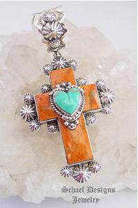 Gary G Designs Coral and Turquoise Heart Cross Pendant from Schaef Designs