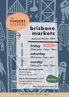 The Finders Keepers | Brisbane AW18 Poster | Artwork, Tiwi Bird by Bede Tungatalum for Magpie Goose