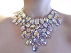 Crystal AB Rhinestone Mega Statement Necklace, Dramatic Necklace, Rhinestone Burlesque Necklace, Jeweled Bib Necklace