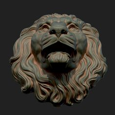printable model sculpture Lion Head Sculpture available in OBJ, STL, ready for animation and other projects Sculpture Art, Sculptures, Compound Wall Design, Stone Lion, 3d Printable Models, Animal Fur, Attic Rooms, Green Man, 3d Animation