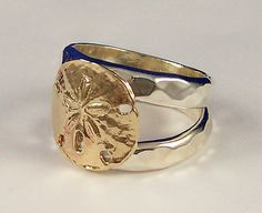 Sand Dollar Split Ring Solid 14k Gold by tiposcreations