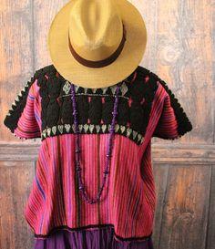 Vintage Pink Chenalho Huipil Chiapas Mexico Hand Woven Mayan Frida Boho Hippie #Handmade #HuipiltunicHuipil