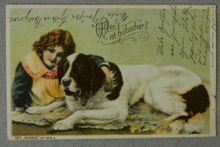 """Antique German Postcard Child With Dog  """"Who Is Prettier"""""""