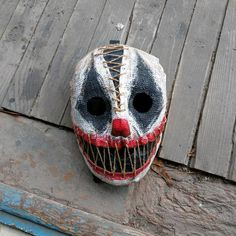 Your place to buy and sell all things handmade , Masque Halloween, Halloween Kostüm, Halloween Cosplay, Halloween Makeup, Scarecrow Mask, Mascaras Halloween, Creepy Masks, Mask Drawing, Mask Painting