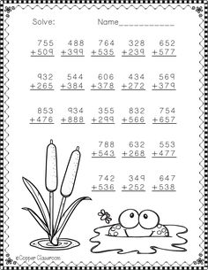 Need extra addition practice? These ten pages focus on three digit addition. Most problems require regrouping. No prep, just print and go. There is an answer key included. Math Practice Worksheets, Printable Math Worksheets, Teaching Resources, Math Addition, Addition And Subtraction, 2nd Grade Math, Second Grade, Math Sheets, Math Practices