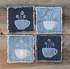 Denim Potholders – Coffee Lovers Pot Holder – Farmhouse Kitchen Upcycled Blue Jeans Hot Pads – Rustic Ranch Decor - Rustic Home Jean Crafts, Denim Crafts, Artisanats Denim, Denim Style, Pach Aplique, Blue Jeans, Sewing Crafts, Sewing Projects, Ranch Decor