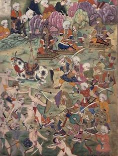 The Battle of Ankara fought on 20 July between the forces of the Ottoman sultan Bayezid I and the Turko-Mongol forces of Timur,The battle was a major victory for Timur Timurid Empire, Golden Horde, Ottoman Turks, Mughal Paintings, Ottoman Empire, Illuminated Manuscript, Indian Art, Illustration, Miniatures