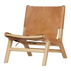 Buckle up armchair leather/wood natural – Pod Furniture