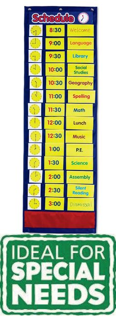 Daily Schedule Pocket Chart. Great for visually preparing students for their day! #sen #classroom #day
