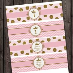 pretty pink and gold princess water bottle labels, first birthday party or any age, pink gold princess party