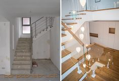 Staircase project, before and after it was finished. The project is made in Bucharest, Romania.