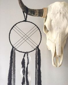 Bohemian Wall Hanging - Boho Dream Catcher - Modern Dream Catcher - Black Dream Catcher - Black Dreamcatcher with White Goose Feathers by willowandwanderlust on Etsy https://www.etsy.com/listing/254028857/bohemian-wall-hanging-boho-dream-catcher