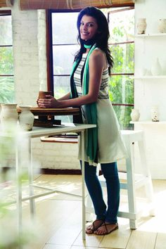 Spring Collection 2012  Copyright © W For Woman. All rights reserved.  #kurta #green #duppatta #bottom #style #fashion #off #white #ethnic #woman #clothing #india #wear