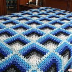Crochet Square Blanket, Crochet Ripple, Granny Square Crochet Pattern, Crochet Squares, Baby Blanket Crochet, Crochet Bedspread Pattern, Crochet Motif Patterns, Crochet Flower Tutorial, Crochet Instructions