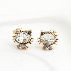 gold hello kitty jewelry   Gold Plated imitation diamond cat hello kitty fashion Studs Earrings ...