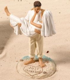 Beach Wedding Figurine - Caucasian (Lillian Rose F983) | Buy at Wedding Favors Unlimited (https://www.weddingfavorsunlimited.com/beach_wedding_figurine_-caucasian.html).