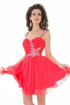 Gorgeous red dress with one strap and rhinestones ...