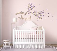 Cherry Blossom Branch Wall Decal, Sakura Blossom Branch and Custom Name Vinyl Decal for Baby Nursery, Kids or Children 064 by InAnInstantArt on Etsy