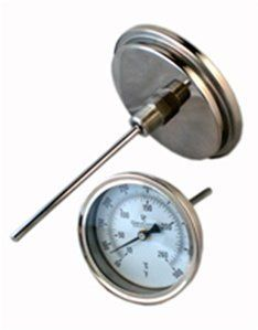"""5"""" Bi-Metal Thermometer Stainless Case back connection 50-500°F X 4"""" by DuraChoice. $24.50. This high-quality, economical thermometer is designed for limited space and OEM applications. It has a back connection and stainless steel case and wetted parts."""