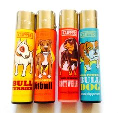 4 x CLIPPER GAS Refillable Flint LIGHTER - DOG POWER DESIGNS GENUINE PRODUCT