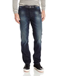Calvin Klein Men's Slim Straight Jean, Hurricane Blue, 40Wx32L