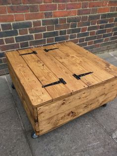 Medium Size Square Rustic Storage Coffee Table on Wheels Handmade from Reclaimed Wood by TimberWolfFurniture on Etsy Diy Storage Coffee Table, Decorating Coffee Tables, Coffee Table Design, Diy Table, Handmade Furniture, Rustic Furniture, Furniture Ideas, Coffee Table Inspiration, Coffee Ideas