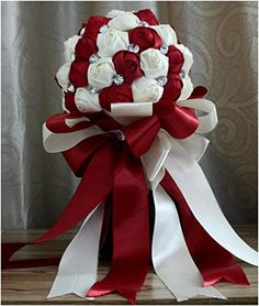 New Stunning Top quality Luxury hand made decorative Artificial Silk Rose flower Bride Bridal Wedding Crystal Bouquets (5  Wine Red + Rice white) Bridal Brooch Bouquet http://www.amazon.com/dp/B00L2877EG/ref=cm_sw_r_pi_dp_gqxaub0PPKGT6