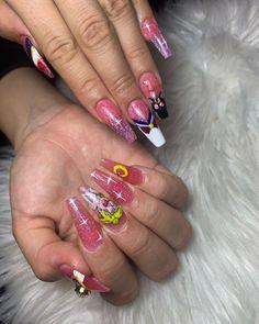 Dope Nails, Aycrlic Nails, Swag Nails, Hair And Nails, Uñas Sailor Moon, Sailor Moon Nails, Nail Art Dessin, Anime Nails, Romantic Nails
