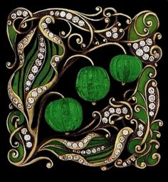 Art Nouveau carved emerald, enamel and diamond-set brooch. #VintageJewelry.wow this brooch design drawed me in, i thought it was a painting.