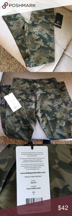 Camo Running Pants Full length camo pants, size small. 88%polyester 12% spandex material. Small accessory pocket in front waistband. No trades 90 Degree by Reflex Pants Track Pants & Joggers