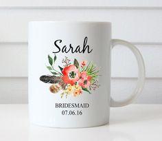 Bridemaids Mug Personalized wedding party by NoteWorthyStationery