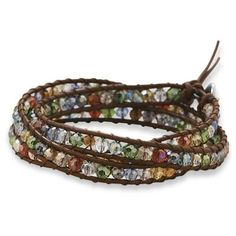 Crystal and Leather Wrap Bracelet Adj... for only $25.00