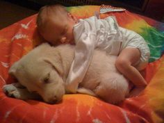 A baby human snuggling with a baby dog. what's not to love? I think I just ovulated, and I know i'll be trolling the humane society website for the next week because of this pin.