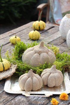 Hello Pumpkin *Beton-Kürbis-DIY* Kürbisse aus Beton Anleitung (Bildquelle: Living and Green)