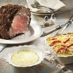 Rib Roast With Gorgonzola Sauce and Caprese-Potato Bake - Publix Aprons Simple Meals Entree Recipes, Beef Recipes, Cooking Recipes, Recipies, Dinner Recipes, Gourmet Recipes, Publix Aprons Recipes, Gorgonzola Sauce, Easy Meals