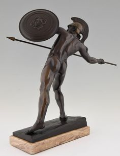 Antique Male Nude Warrior with Spear by Schmidt Kestner H 23 inch, Ca. 1900   From a unique collection of antique and modern sculptures at https://www.1stdibs.com/furniture/decorative-objects/sculptures/