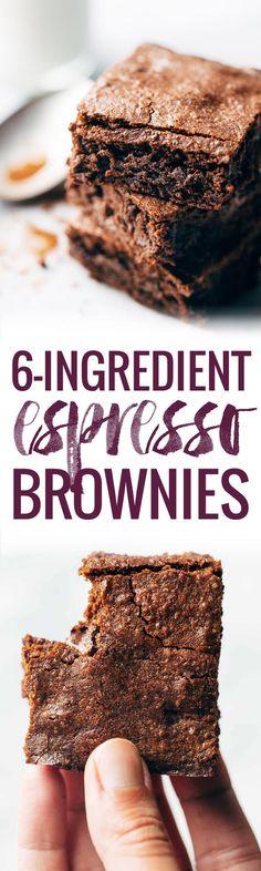 6 Ingredient Espresso Brownies | pinchofyum.com