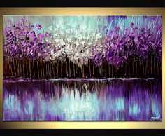 ORIGINAL Abstract landscape Painting on canvas Purple Gray Light Blue Paint Palette Knife Fine Art By Osnat Tzadok. $360.00, via Etsy.