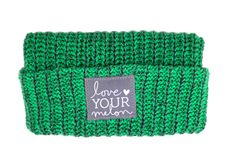 Green and Charcoal Speckled Cuffed Beanie
