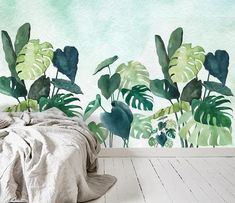 Watercolor Hand Painted Green Banana Leaves Plants Wallpaper Wall Mural, Green Plants Wall Mural, Wa - home plants diy Plant Wallpaper, Wall Wallpaper, Watercolor Plants, Watercolor Wallpaper, Green Banana, Plant Painting, Cleaning Walls, Mural Art, Tree Wall Murals